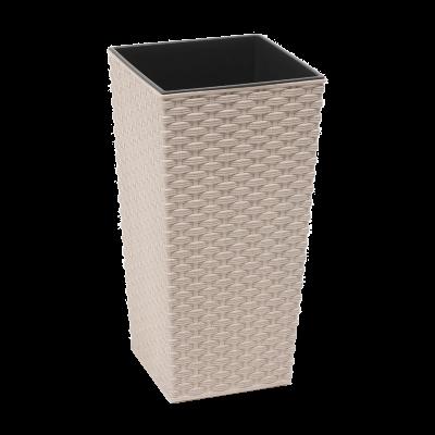 Doniczka z wkładem Finezja Eco rattan biała 25x25 cm
