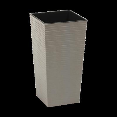 Doniczka z wkładem Finezja Eco dłuto szara 25x25 cm