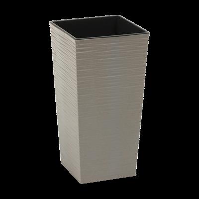 Doniczka z wkładem Finezja Eco dłuto szara 30x30 cm