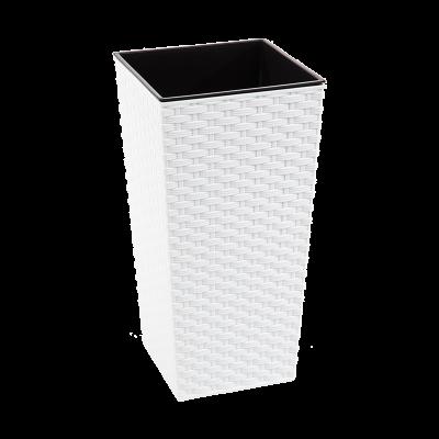 Doniczka z wkładem Finezja rattan biała 19x19 cm
