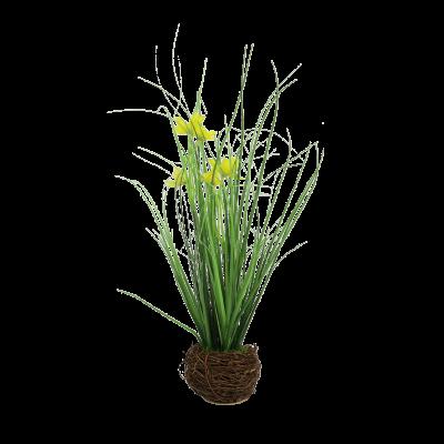 Sztuczna trawa z żółtymi kwiatami w gniazdku 35 cm