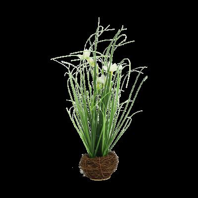 Sztuczna trawa z białymi kwiatami w gniazdku 35 cm