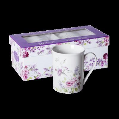 Komplet 2 kubków ceramicznych różowe kwiaty 350 ml