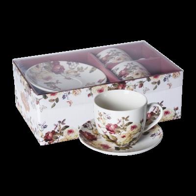 Komplet 2 filiżanek ceramicznych ze spodkami róże 250 ml
