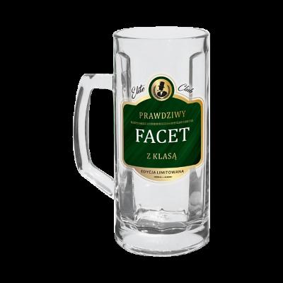 """Kufel na piwo """"Prawdziwy Facet z Klasą"""" 500ml"""