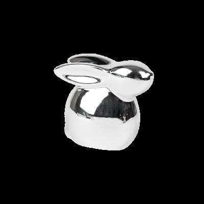 Mały zajączek ceramiczny srebrny 5,5 cm