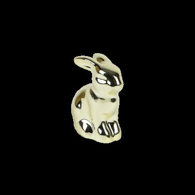 Mały króliczek ceramiczny złoty 4,5 cm
