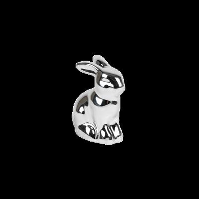 Mały króliczek ceramiczny srebrny 4,5 cm