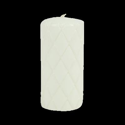Świeca pieńkowa pikowana lakier biała 150/70