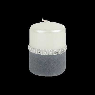 Świeca pieńkowa diamond perłowa/welur stalowe magnolie 100/70
