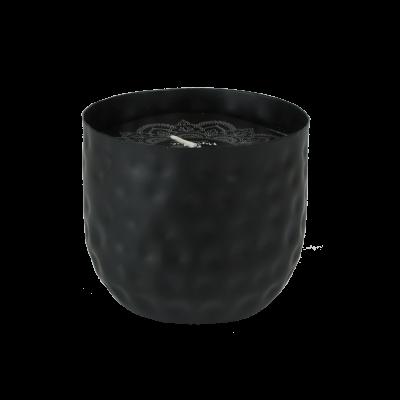 Świeca zapachowa w metalowej osłonce czarna 8x9,5 cm
