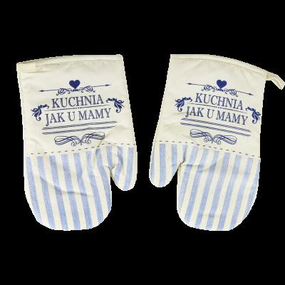 Komplet 2 rękawic kuchennych Retro niebieskie18x27 cm