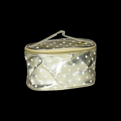 Kosmetyczka złota w białe kropki
