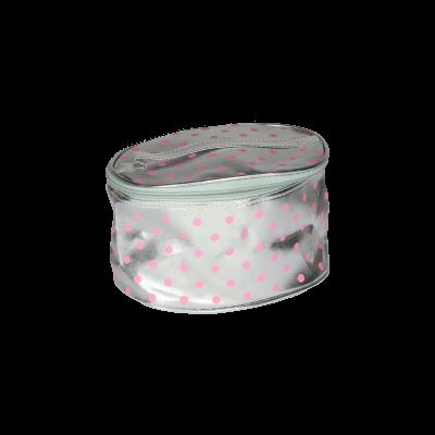 Kosmetyczka srebrna w różowe kropki