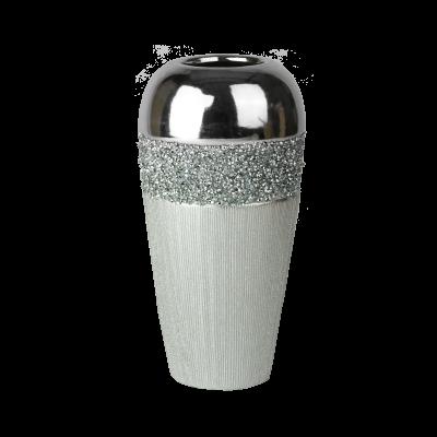 Wazon ceramiczny kryształki srebrny 24 cm