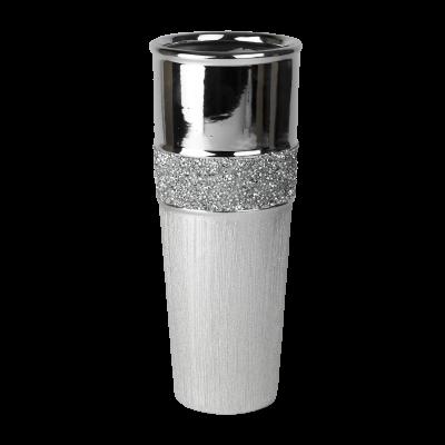 Wazon ceramiczny kryształki srebrny 29 cm