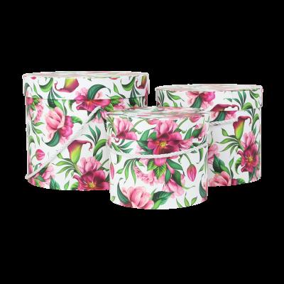 Zestaw 3 ozdobnych pudełek białe w różowe kwiaty
