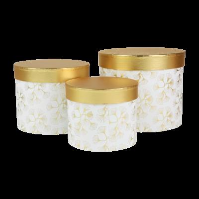Zestaw 3 ozdobnych pudełek biało-złote