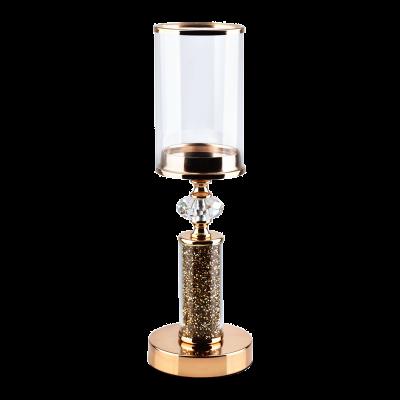 Świecznik ze szklanym kloszem Chantal złoty 12x38 cm