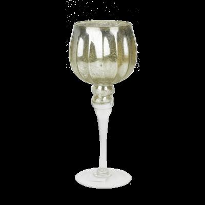 Świecznik szklany kielich na nóżce złoty 30 cm