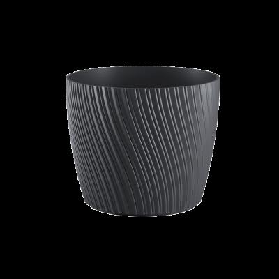 Doniczka plastikowa z podstawką Mika antracyt 17 cm