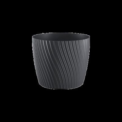 Doniczka plastikowa z podstawką Mika antracyt 15 cm