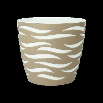 Doniczka Sahara Duo beżowo-biała 23 cm