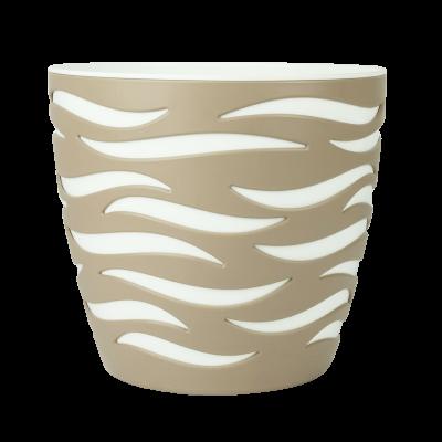 Doniczka Sahara Duo beżowo-biała 28 cm