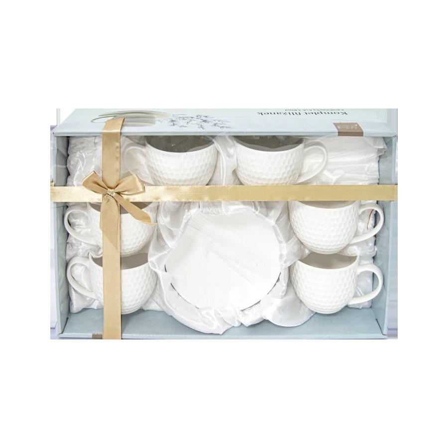 Zestaw 6 filiżanek ze spodkami białe 240 ml