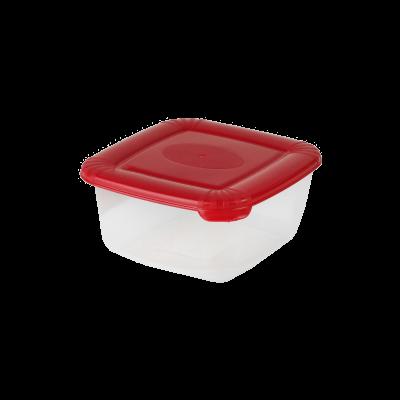 Kwadratowy pojemnik do żywności Polar z czerwoną pokrywką 0,46l