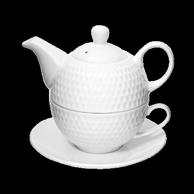 """Dzbanek z filiżanką i spodkiem """"Tea for one"""" biały 320 ml"""