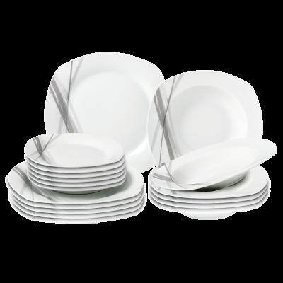 Komplet obiadowy Zofia szary deseń 18-elementowy