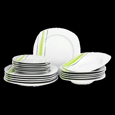 Komplet obiadowy kwadratowy Zofia zielone paski 18-elementowy