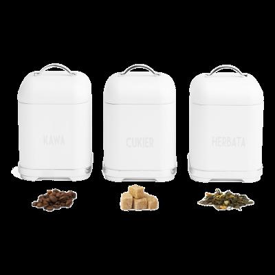 Komplet 3 pojemników Harper kawa/herbata/cukier białe