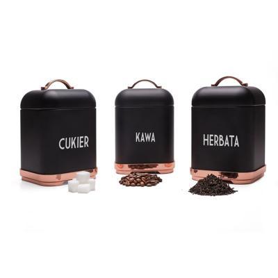 Komplet 3 pojemników Harper kawa/herbata/cukier czarne
