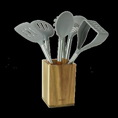 Komplet przyborów kuchennych w drewnianym stojaku 7-elementowy