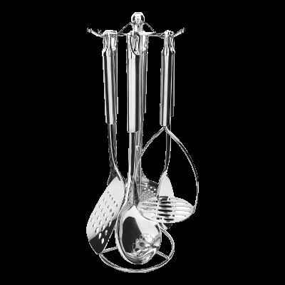 Komplet stalowych przyborów kuchennych na stojaku Napoli 7-elementowy