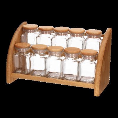 Komplet 10 słoiczków na drewnianej półce 33x13,5x19 cm