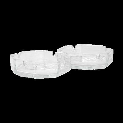 Kpl. 2 popielnic ośmiobocznych szklanych 11.8 cm