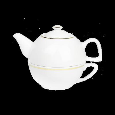 Komplet do herbaty IRENA złoty pasek 2-elementowy