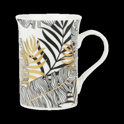 Kubek porcelanowy wysoki PRIMA DECO Egzotyczne liście 320 ml