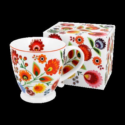 Kubek porcelanowy na stopce DUO Łowicz 480 ml