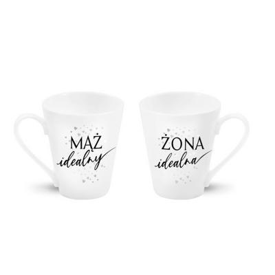 """Zestaw 2 kubków """"Żona idealna/Mąż idealny"""" srebrny 300 ml"""
