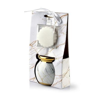 Kominek do aromaterapii z woskiem okrągły biały 7x8 cm