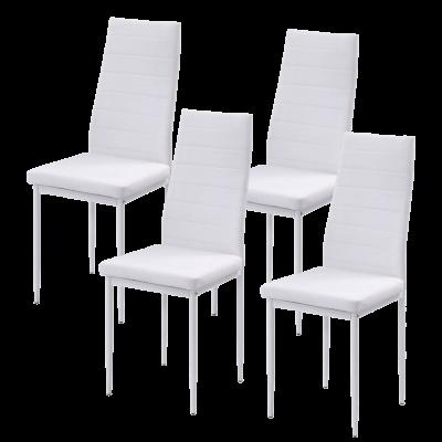 Zestaw 4 krzeseł tapicerowanych eko skóra KAMA białe