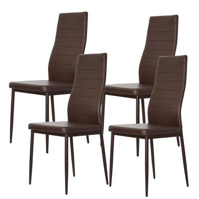 Krzesło tapicerowane eko skóra KAMA brązowe