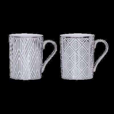 Komplet 2 kubków porcelanowych Forest geometria 260 ml