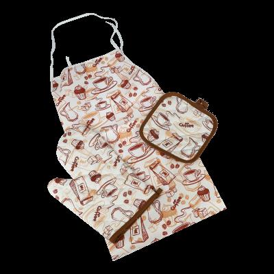 Komplet 3 elementowy rękawica kuchenna/ łapka/ fartuch