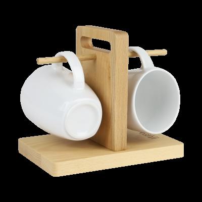Komplet 2 kubków porcelanowych na drewnianym stojaku VUISLA 350 ml