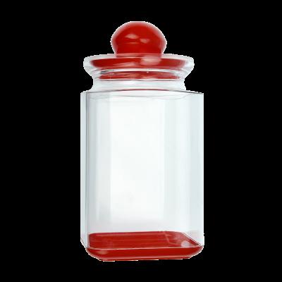 Pojemnik plastikowy na artykuły sypkie z czerwoną pokrywką 1,3l